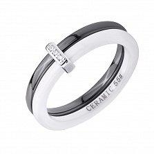 Серебряное кольцо Ванесса с фианитами, черной и белой керамикой