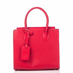 Кожаная деловая сумка Genuine Leather 8612 красного цвета на магнитной кнопке со съемным ремнем