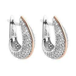 Серебряные серьги с золотыми накладками и фианитами 000067192