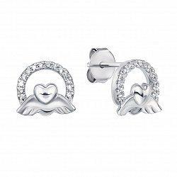 Серебряные серьги-пуссеты с фианитами 000133835
