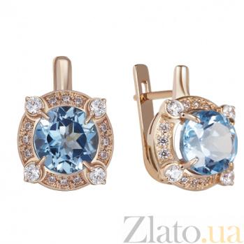 Золотые серьги с голубым топазом Грезы AUR--32751 02