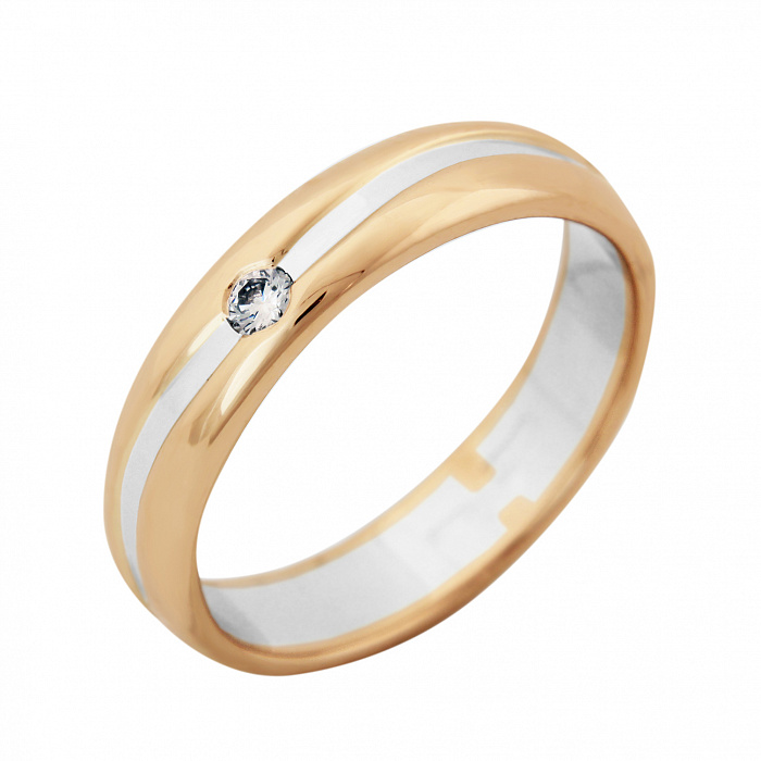 Золотое обручальное кольцо Нежность в комбинированном цвете с бриллиантом VLA--14330