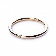 Обручальное кольцо из желтого золота Вместе навсегда с бриллиантом