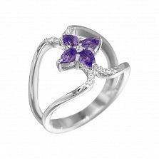 Серебряное кольцо Фатима с аметистом и фианитами