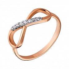 Золотое кольцо с фианитами Бесконечность