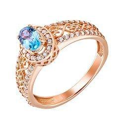 Кольцо из красного золота с голубым топазом и фианитами 000131264