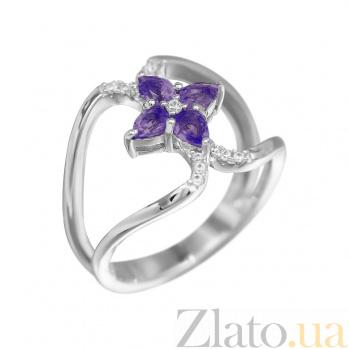 Серебряное кольцо Фатима с аметистом и фианитами 000081651