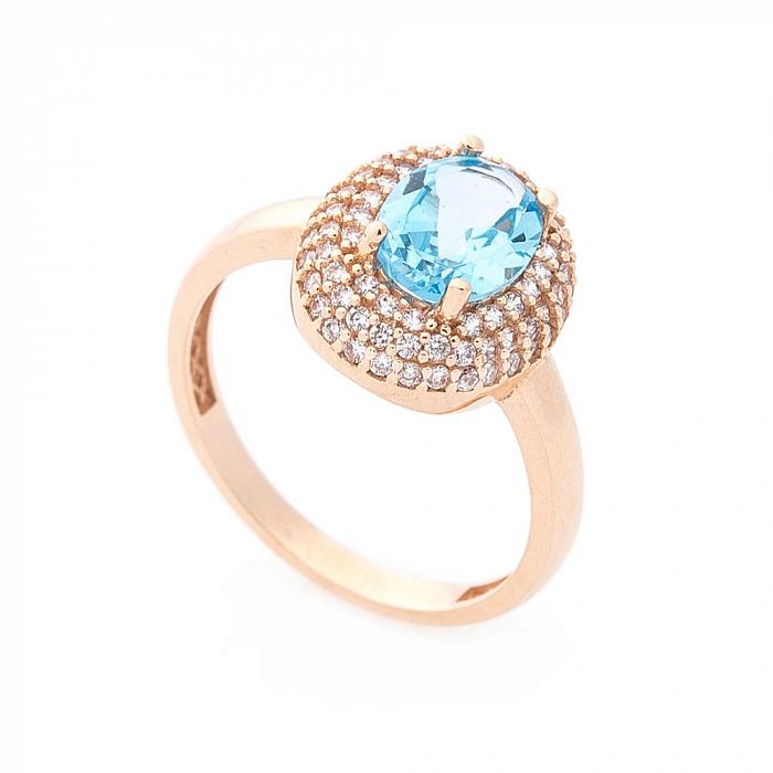 Золотое кольцо Майя в красном цвете с голубым топазом и белыми фианитами 000082326
