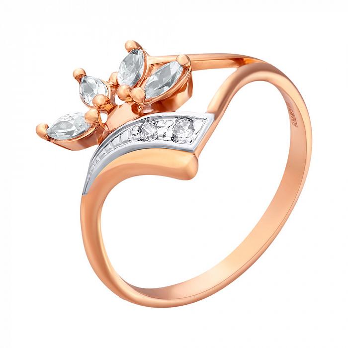 Золотое кольцо с цирконием Подснежник 000030589