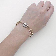 Золотой браслет Фентези голд с ассиметричными звеньями и усыпкой из белых фианитов