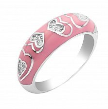 Серебряное кольцо Первая любовь с узором из сердечек с фианитами и розовой эмалью в стиле Фрайвилле
