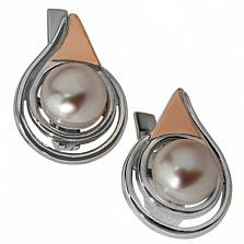 Серебряные серьги Колибри с золотыми вставками и жемчугом