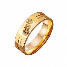 Золотое обручальное кольцо Семейный союз с фианитами