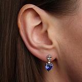 Серебряные пуссеты-подвески Цвет сердца с синими и белыми фианитами