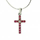Серебряный крестик с бриллиантом и рубинами Мадея