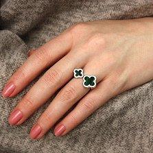 Серебряное кольцо Самоцветы с имитацией малахита и цирконием в стиле Ван Клиф