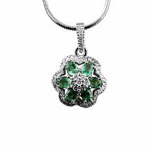 Серебряная подвеска с изумрудами и бриллиантами Кларетта