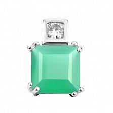 Серебряный кулон с зеленым агатом и фианитами 000133627