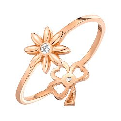Кольцо из красного золота с фианитами 000146237