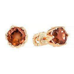 Серьги-пуссеты из красного золота с раухтопазами 000132193