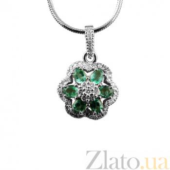 Серебряная подвеска с изумрудами и бриллиантами Кларетта ZMX--PDE-6625-Ag_K