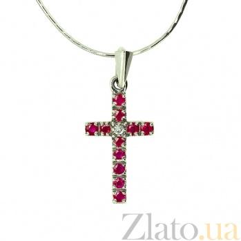 Серебряный крестик с бриллиантом и рубинами Мадея ZMX--PDR-13279-Ag_K