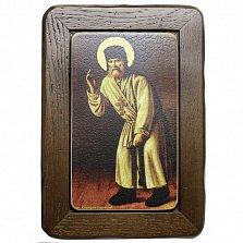 Икона на деревянной основе Серафим Саровский с цветной эмалью, 41х27