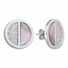 Серебряные пуссеты с фианитами и перламутром 000127376