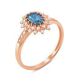 Кольцо из красного золота с голубым топазом и фианитами 000125428