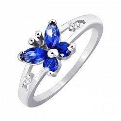 Серебряное кольцо Butterfly с синими фианитами 000033720