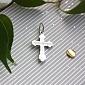Золотой крестик Небесный покровитель в белом цвете с алмазной насечкой 000014966