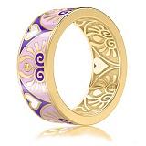 Обручальное кольцо из желтого золота с эмалью и бриллиантами Талисман: Души