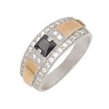 Серебряное кольцо с золотой вставкой и фианитами Монако