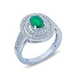 Кольцо серебряное с зеленым агатом Весенняя свежесть