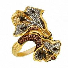 Кольцо из комбинированного золота Цветущий дуэт с цирконием