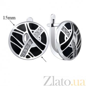 Серебряные серьги Клер AUR--72756б-ч