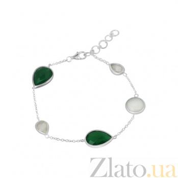 Серебряный браслет Бетани с зеленым агатом, кварцем и халцедоном 000082014