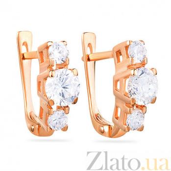 Золотые серьги с фианитами Анжелина SUF--110108