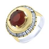 Кольцо из серебра и бронзы Жозефин с рубином и фианитами