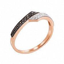 Золотое кольцо Фаустина в комбинированном цвете с черными и белыми бриллиантами