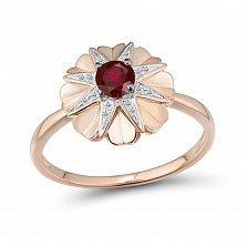 Золотое кольцо Лиам в красном цвете с узорным цветком, бриллиантами и рубином