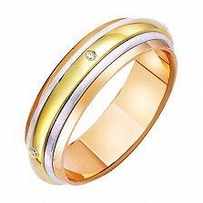 Золотое обручальное кольцо с фианитами Вселенная любви