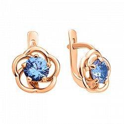 Золотые серьги Незабудка в красном цвете с голубым кварцем