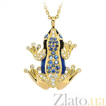 Золотое колье с бриллиантами, сапфирами и эмалью Лягушки: Чудо бытия 000029600