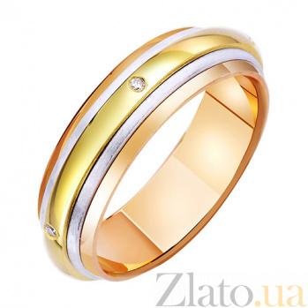 Золотое обручальное кольцо с фианитами Вселенная любви TRF--472653
