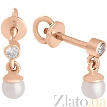 Золотые серьги с жемчугом и фианитом Милиана 000024323