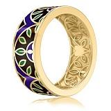 Мужское обручальное кольцо из желтого золота с эмалью Талисман: Мира