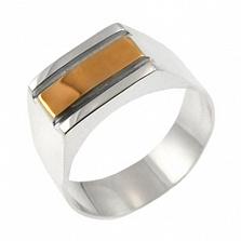 Серебряный перстень с золотой вставкой Мужской