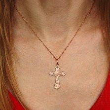 Золотой православный крестик Ясность в красном цвете
