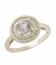 Серебряное кольцо Фредерика с аметистом и фианитами